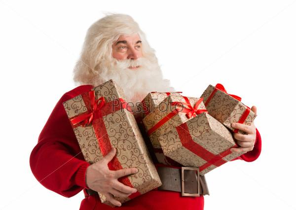 Портрет Санта-Клауса с подарками