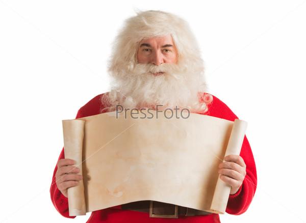 Санта-Клаус с пустым баннером