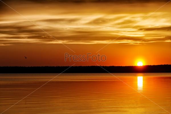 Фотография на тему Оранжевый закат на озере