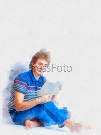Фотография на тему Портрет молодого мужчины с открытой книгой в студии на сером фоне