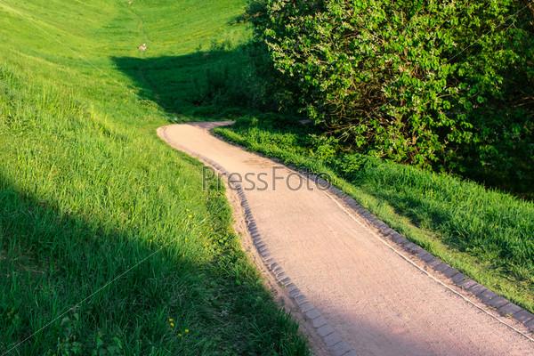 Красная извилистая тропинка в красивом зеленом парке, освещенная солнцем