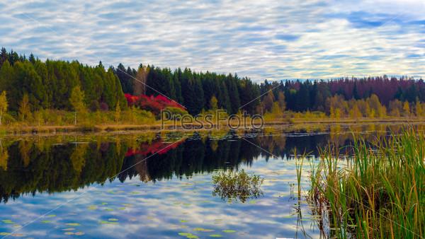 Осенние цвета вокруг спокойного озера