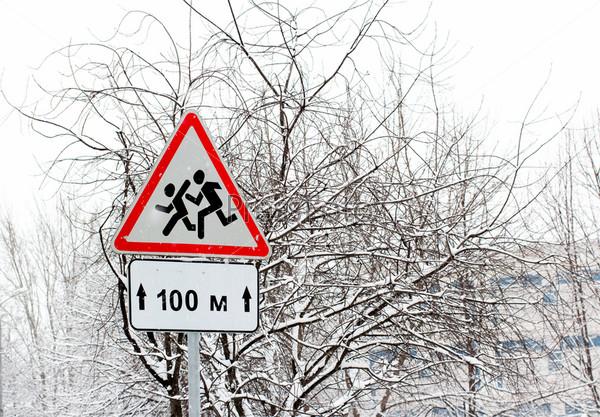 Дорожный знак зимой
