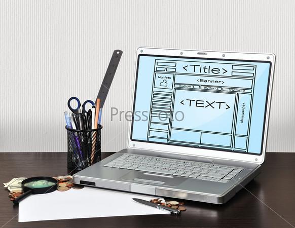 Ноутбук с шаблоном веб-страницы