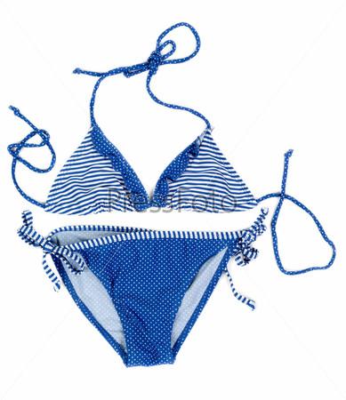 Синий купальник в полоску и горошек
