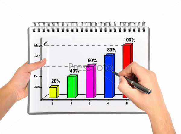 Фотография на тему Рука рисует график