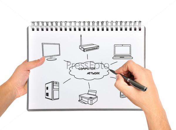 Рука рисует компьютерную сеть