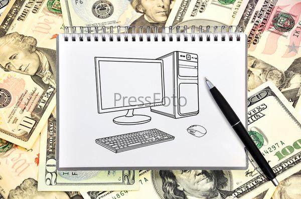 Ноутбук с нарисованным компьютером