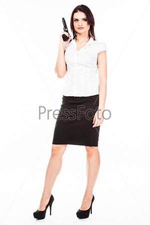 Фотография на тему Молодая и красивая женщина с пистолетом