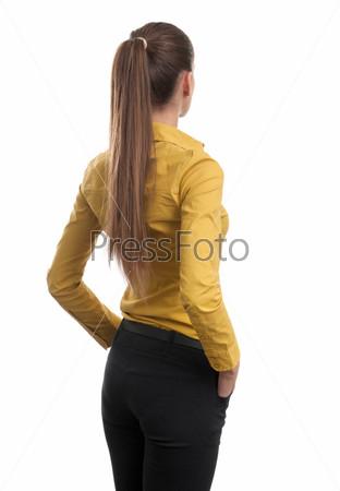 Фотография на тему Деловая женщина со спины, глядящая на что-то