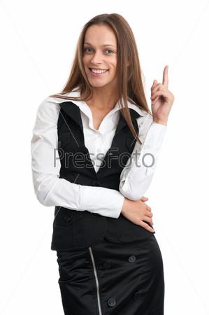 Фотография на тему Женщина показывает пальцем вверх