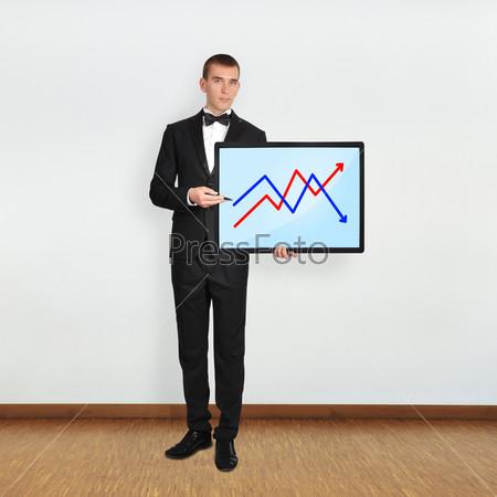 Человек и плазма с графиком