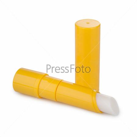 Фотография на тему Бальзам для губ с тенью, изолированный на белом фоне
