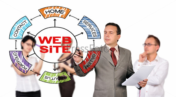 Фотография на тему Мужчина рисует схему сайта