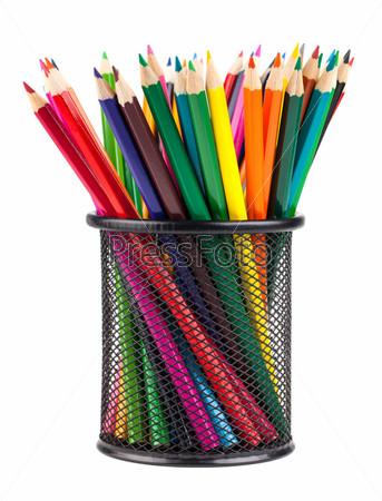 Фотография на тему Набор цветных карандашей в подставке