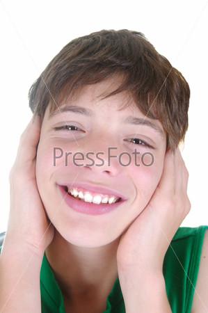 Фотография на тему Милый мальчик на белом фоне