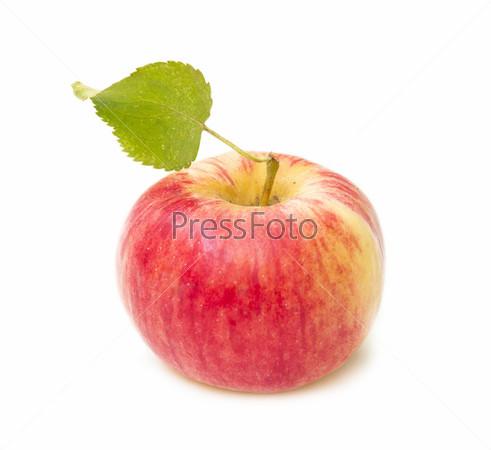 Фотография на тему Красное яблоко с листочком