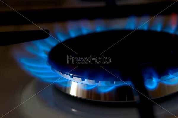 Фотография на тему Синее пламя газовой горелки