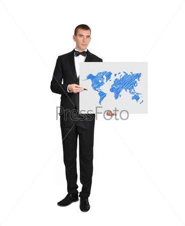 Бизнесмен и карта мира