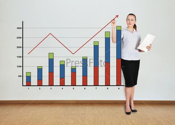Женщина рисует график