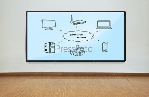 Фотография на тему Плазменная панель со схемой компьютерной сети
