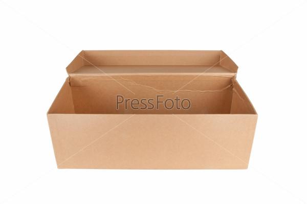 Картонная открытая коробка, изолировано
