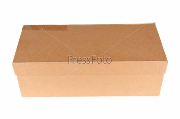 Фотография на тему Картонная закрытая коробка, изолировано