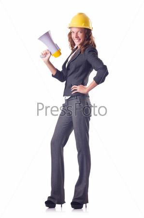 Фотография на тему Женщина-рабочий с громкоговорителем