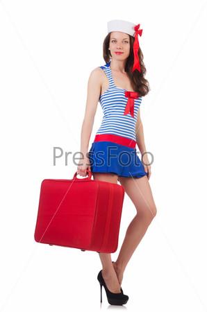 Фотография на тему Молодая женщина готовится к отпуску