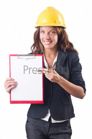 Фотография на тему Женщина в каске с планшетом
