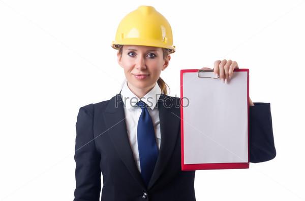 Фотография на тему Женщина с каской и папкой