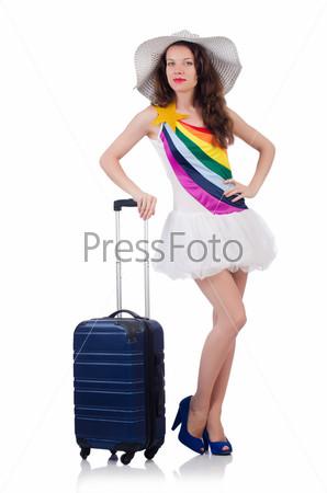Фотография на тему Молодая женщина готовится у отпуску