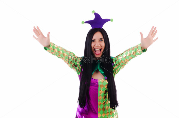 Фотография на тему Женщина клоун, изолированная на белом фоне