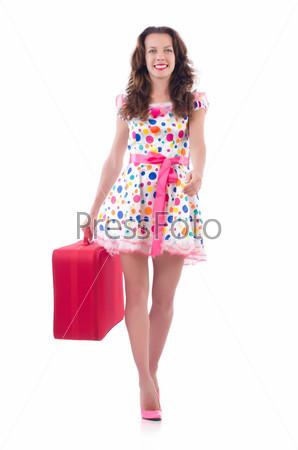 Фотография на тему Женщина с красным чемоданом, изолированная на белом