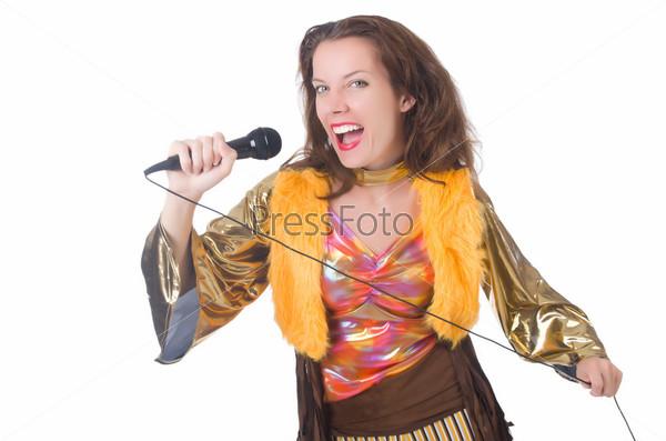 Фотография на тему Женщина в испанской одежде с микрофоном