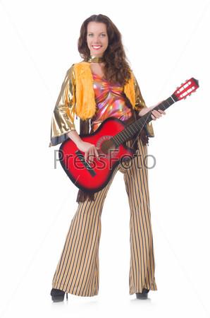 Фотография на тему Женщина в мексиканской одежде с гитарой