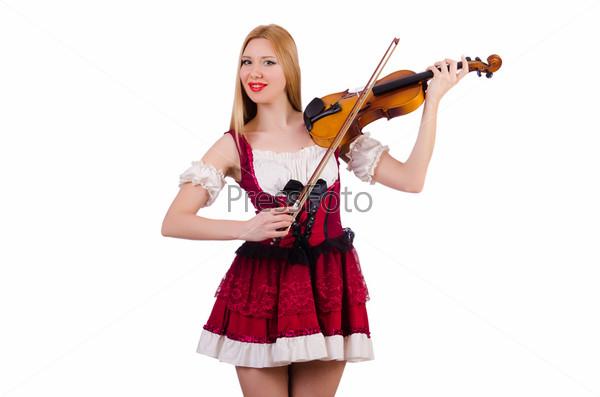 Девушка со скрипкой на белом фоне