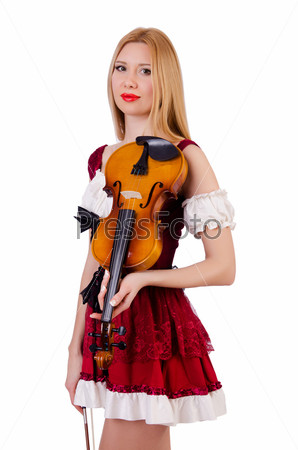 Фотография на тему Девушка со скрипкой на белом фоне