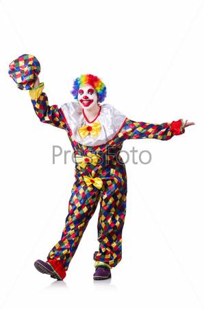 Фотография на тему Клоун с цветами на белом фоне