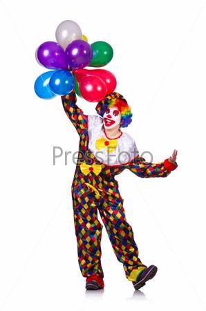 Забавный клоун, изолированный на белом