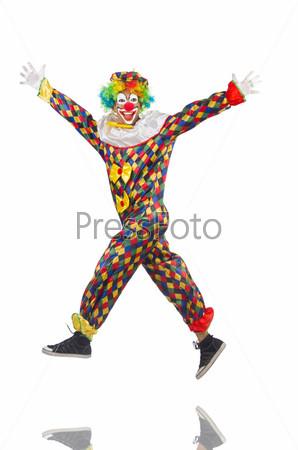 Забавный клоун, изолированный на белом фоне