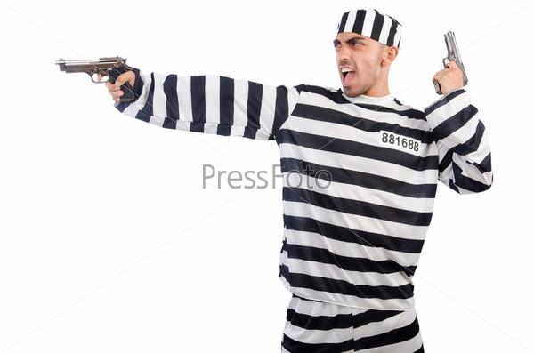 Фотография на тему Заключенный с пистолетами, изолированный на белом фоне