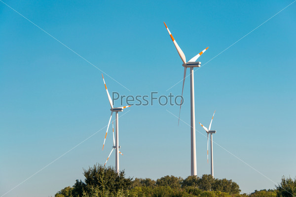 Фотография на тему Ветряные мельницы в яркий летний день