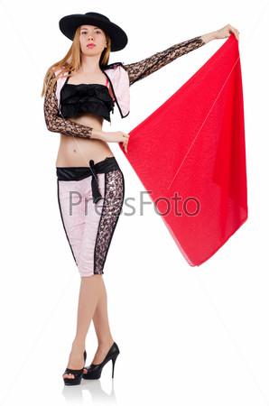 Женщина тореадор, изолированная на белом