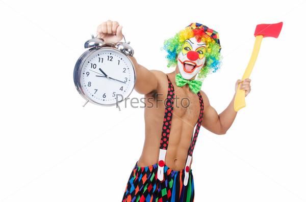 Фотография на тему Клоун с часами и топором на белом фоне