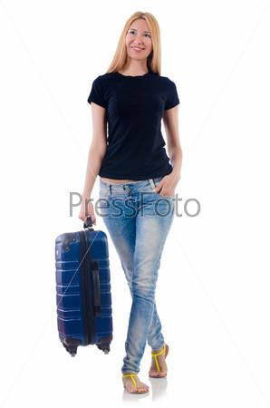 Женщина готова к отдыху на белом фоне