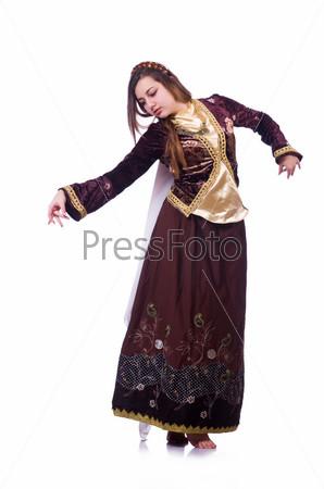 Фотография на тему Молодая леди танцует традиционный азербайджанский танец