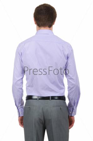 Мужчина в рубашке, изолированный на белом фоне