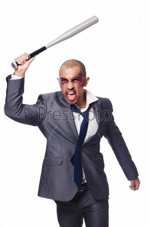 Сильно избитый бизнесмен с битой на белом фоне