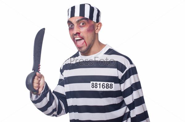 Фотография на тему Заключенный с ножом, изолированный на белом фоне